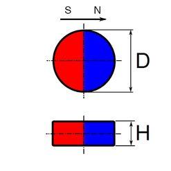 Neodym disk, diametrální magnetizace